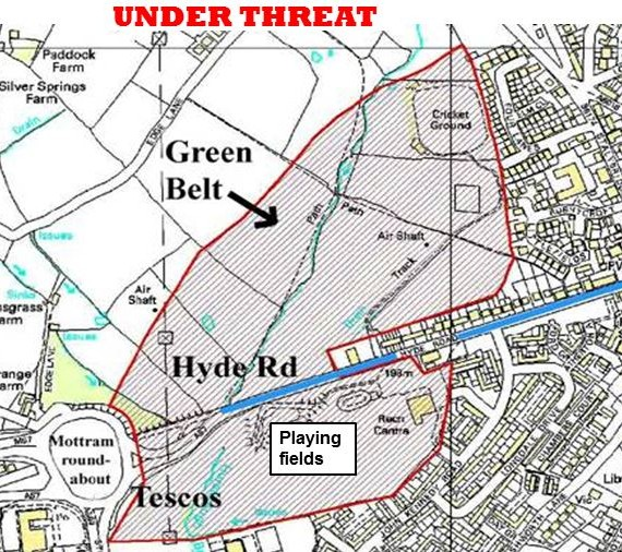 Map of Mottrams under threat green belt